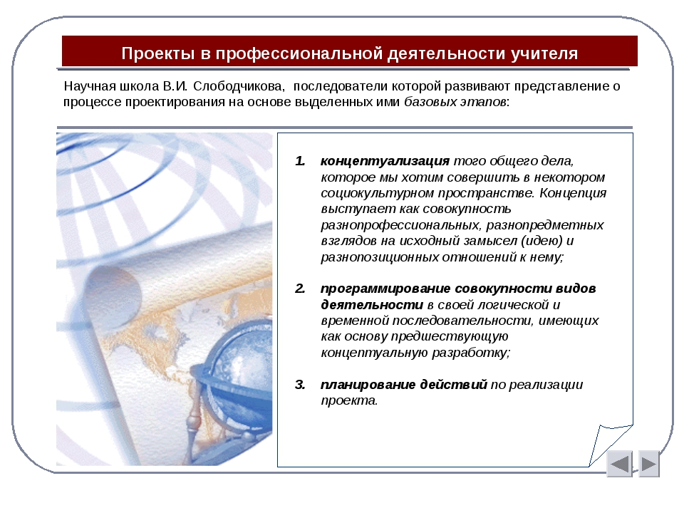 Проекты в профессиональной деятельности учителя концептуализация того общего...