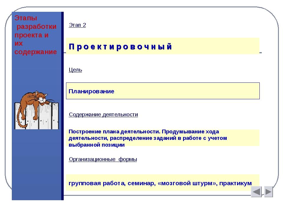 Этапы разработки проекта и их содержание П р о е к т и р о в о ч н ы й Цель П...