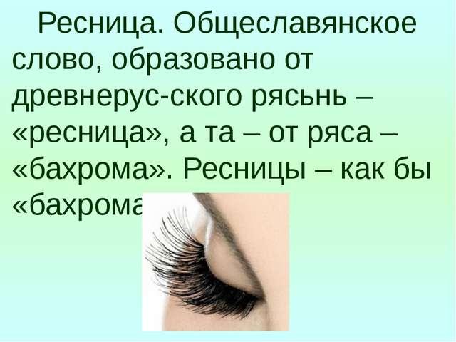 Ресница. Общеславянское слово, образовано от древнерус-ского рясьнь – «ресни...