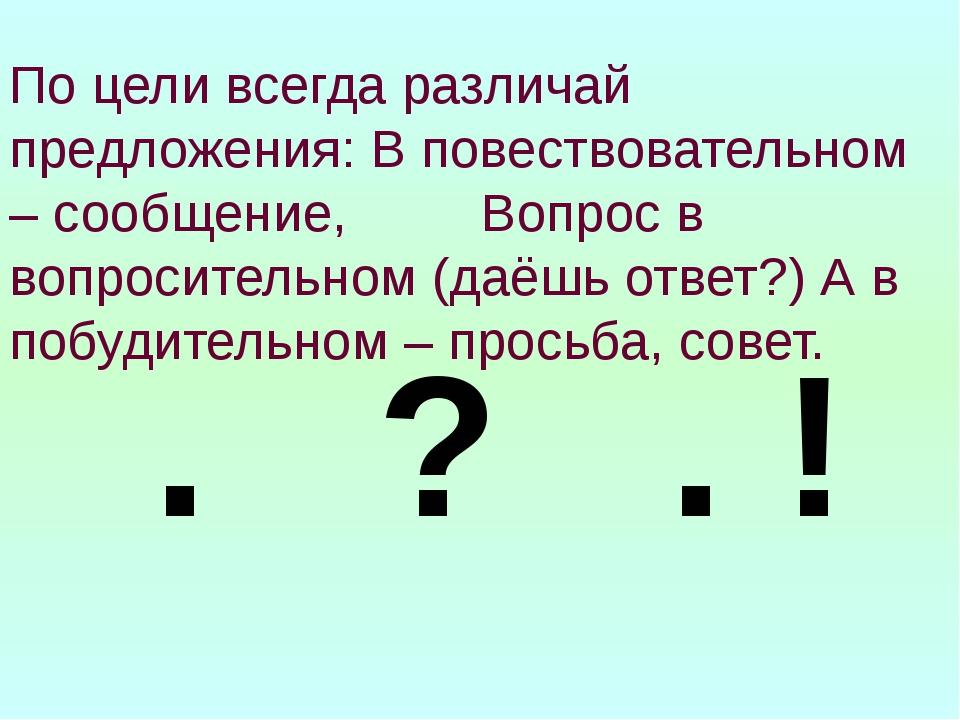 По цели всегда различай предложения: В повествовательном – сообщение, Вопрос...
