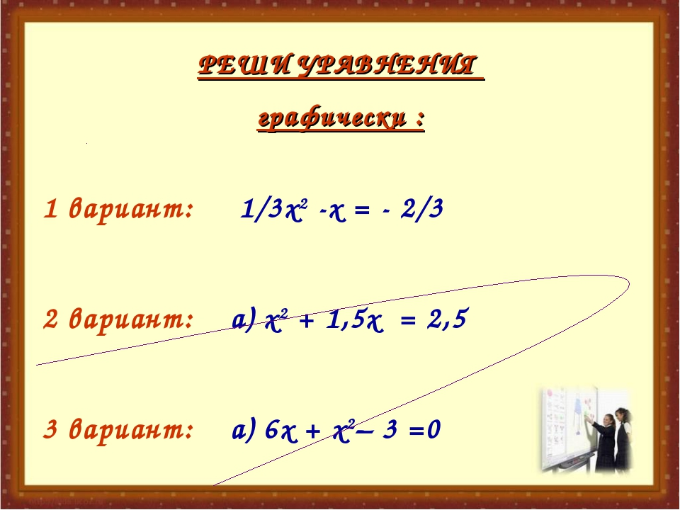 РЕШИ УРАВНЕНИЯ графически : 1 вариант: 1/3х2 -х = - 2/3 2 вариант: а) х2 + 1,...