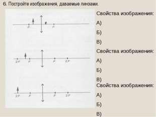 6. Постройте изображения, даваемые линзами. Свойства изображения: А) Б) В) Св