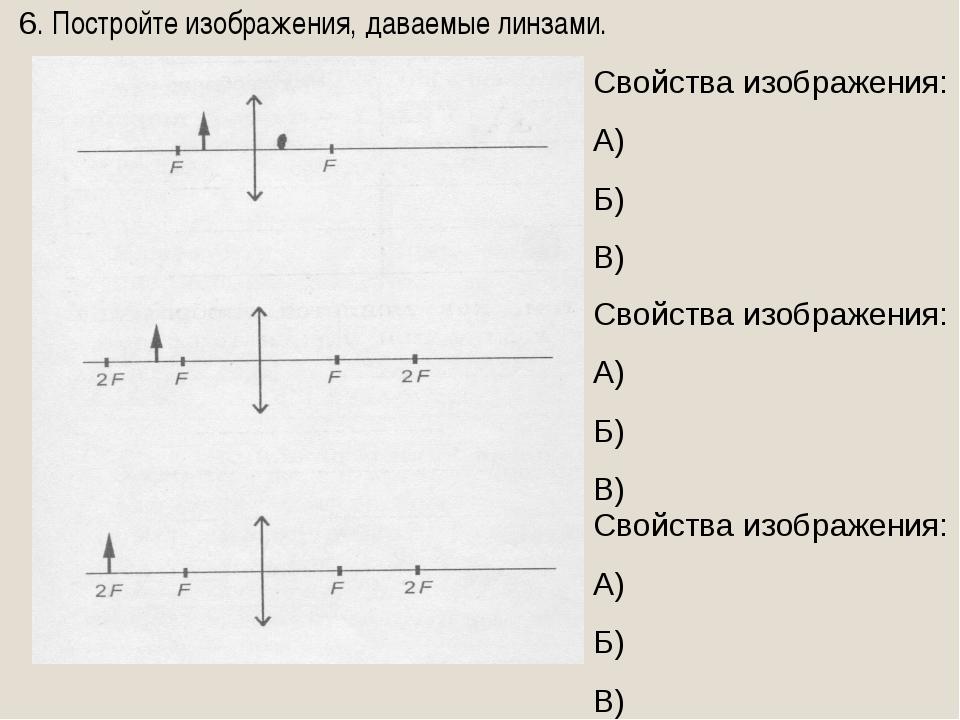 6. Постройте изображения, даваемые линзами. Свойства изображения: А) Б) В) Св...