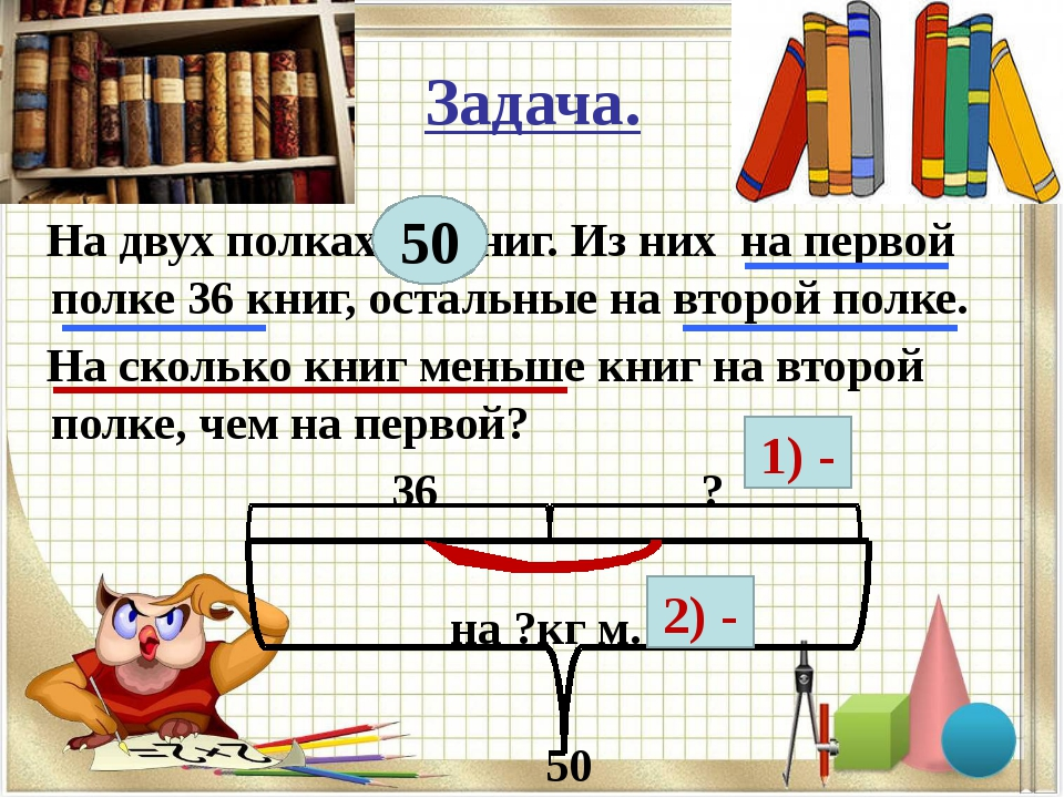 Задача. На двух полках 50 книг. Из них на первой полке 36 книг, остальные на...