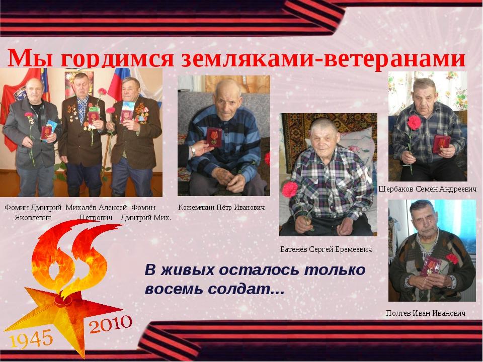 Мы гордимся земляками-ветеранами Кожемякин Пётр Иванович Батенёв Сергей Ереме...