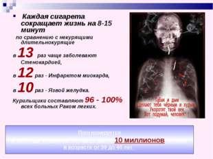 Каждая сигарета сокращает жизнь на 8-15 минут по сравнению с некурящими длит