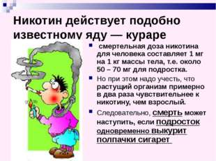 Никотин действует подобно известному яду — кураре смертельная доза никотина д