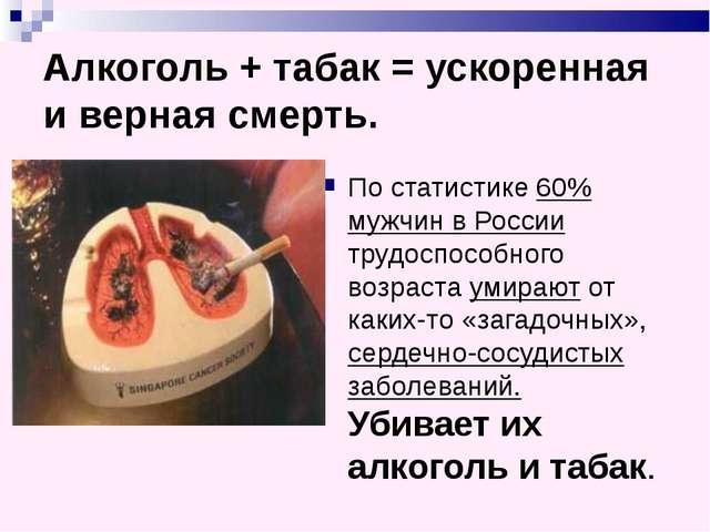 Алкоголь + табак = ускоренная и верная смерть. По статистике 60% мужчин в Рос...
