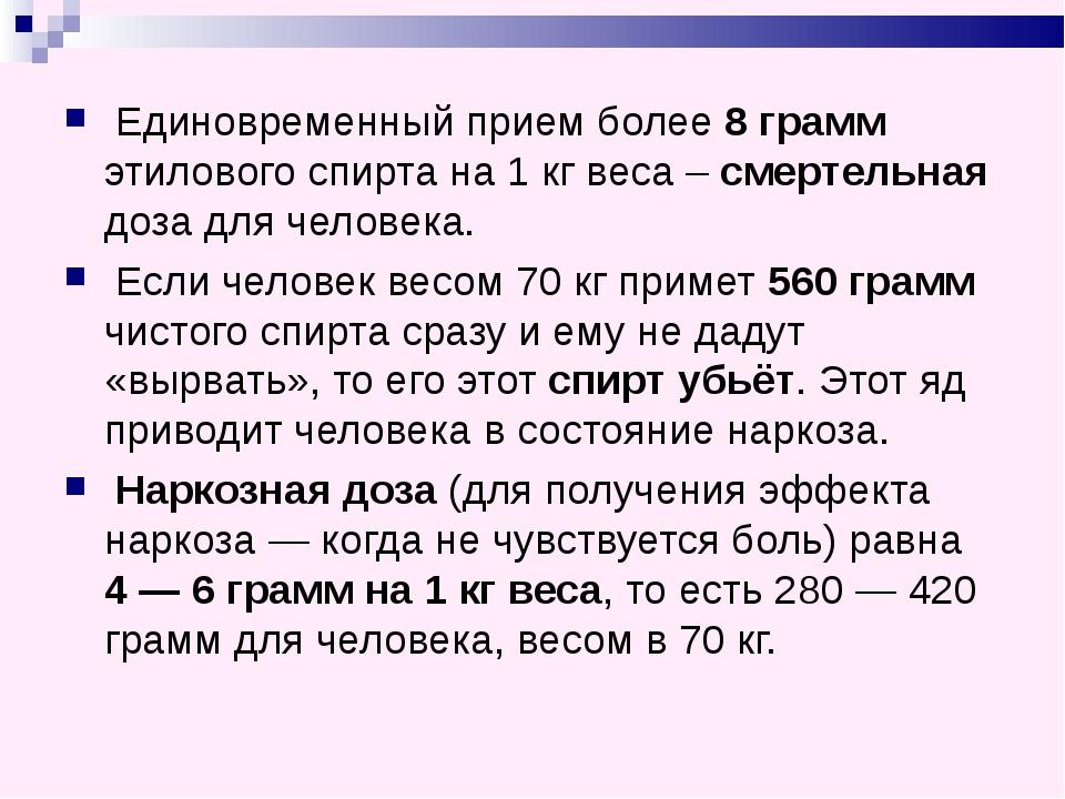 Смертельная доза водки на 1 кг веса
