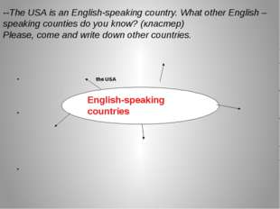 the USA English-speaking countries 	 	 --The USA is an English-speaking coun