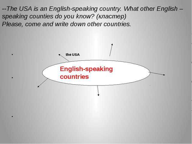 the USA English-speaking countries 	 	 --The USA is an English-speaking coun...