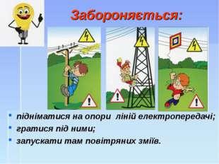 Забороняється: підніматися на опори ліній електропередачі; гратися під ними;