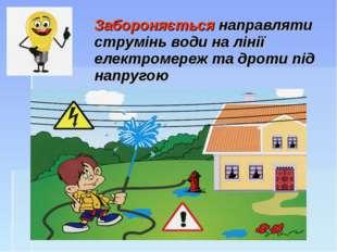 Забороняється направляти струмінь води на лінії електромереж та дроти під на