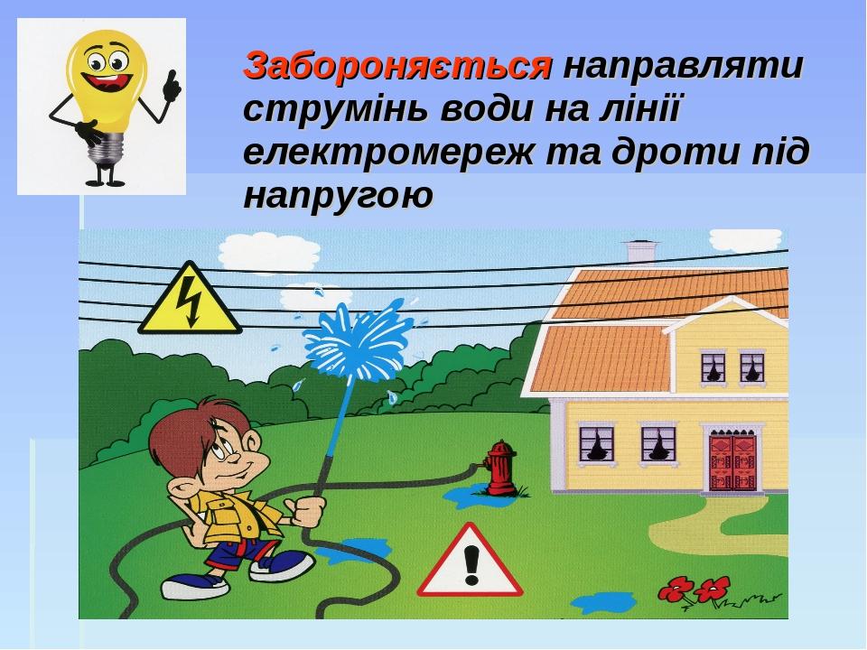 Забороняється направляти струмінь води на лінії електромереж та дроти під на...