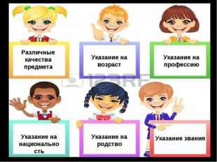 Различные качества предмета Указание на возраст Указание на национальность Ук