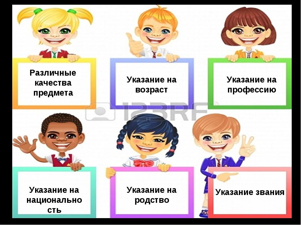Различные качества предмета Указание на возраст Указание на национальность Ук...