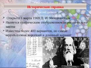 Историческая справка Открыта 1 марта 1969 Д. И. Менделеевым Является графичес