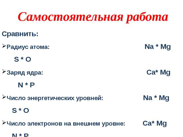 Сравнить: Радиус атома: Na * Mg S * O Заряд ядра: Ca* Mg N * P Число энергети...