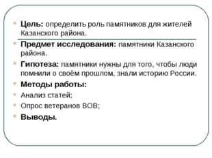 Цель: определить роль памятников для жителей Казанского района. Предмет иссле