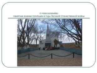 п.Новоселезнёво памятник воинам погибшим в годы Великой Отечественной войны