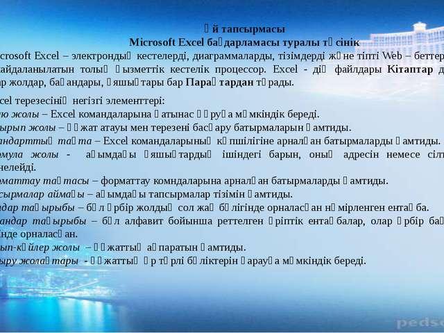 Үй тапсырмасы Microsoft Excel бағдарламасы туралы түсінік Microsoft Excel – э...