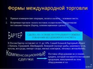 * * Формы международной торговли Прямые коммерческие операции, оплата в валют