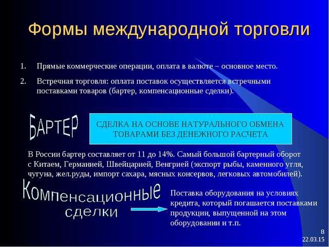* * Формы международной торговли Прямые коммерческие операции, оплата в валют...