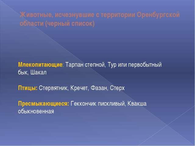 Животные, исчезнувшие с территории Оренбургской области (черный список) Млеко...