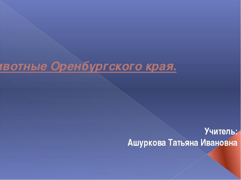 Животные Оренбургского края. Учитель: Ашуркова Татьяна Ивановна