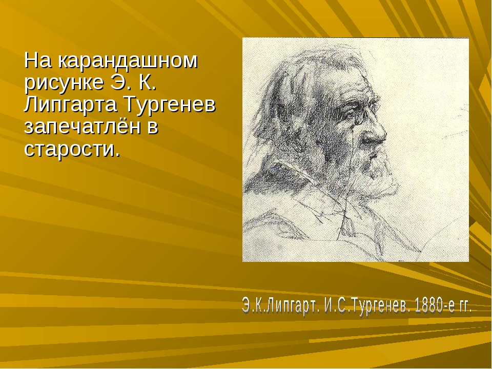На карандашном рисунке Э. К. Липгарта Тургенев запечатлён в старости.