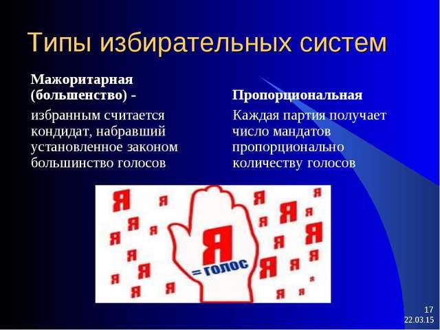 Типы избирательных систем Мажоритарная (большенство) - избранным считается ко...