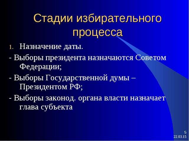 Стадии избирательного процесса Назначение даты. - Выборы президента назначают...