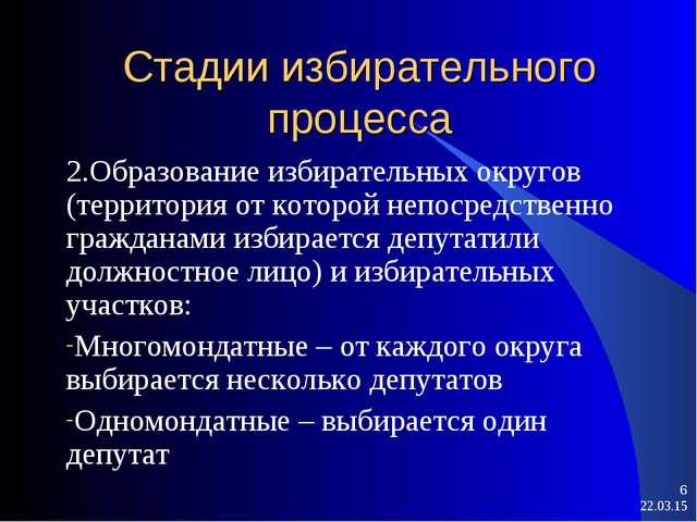 Стадии избирательного процесса 2.Образование избирательных округов (территори...
