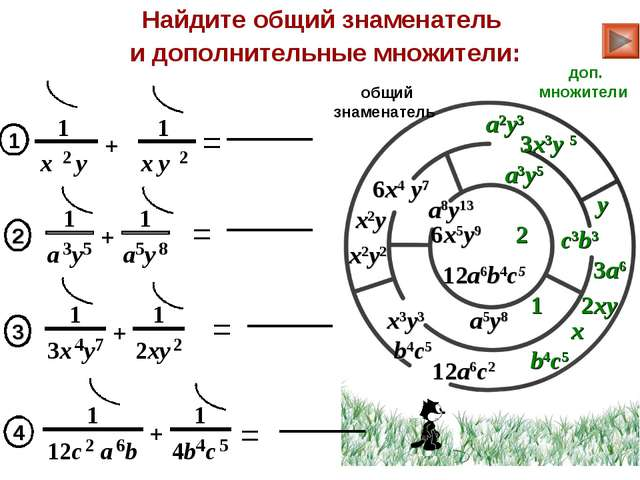 = Найдите общий знаменатель и дополнительные множители: x2y2 y x 1 общий знам...