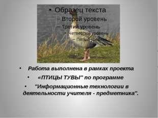 """Работа выполнена в рамках проекта «ПТИЦЫ ТУВЫ"""" по программе """"Информационные"""