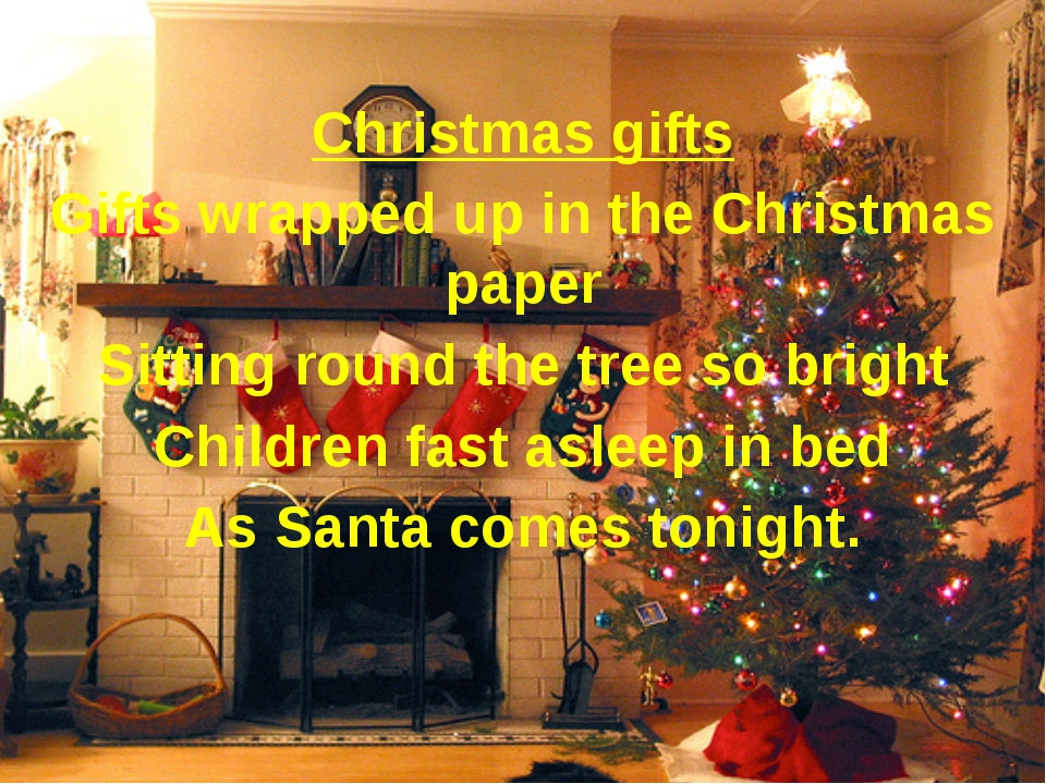 Christmas gifts Gifts wrapped up in the Christmas paper Sitting round the tr...