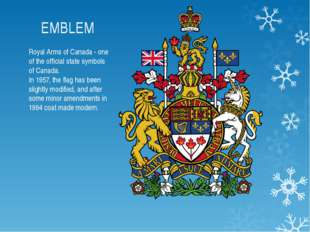 EMBLEM Royal Arms of Canada - one of the official state symbols of Canada. In