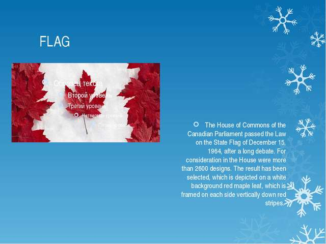 FLAG The House of Commons of the Canadian Parliament passed the Law on the St...