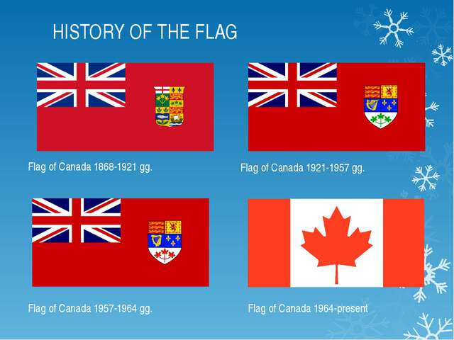 HISTORY OF THE FLAG Flag of Canada 1868-1921 gg. Flag of Canada 1921-1957 gg....