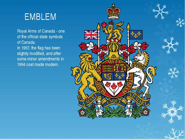 EMBLEM Royal Arms of Canada - one of the official state symbols of Canada. In...