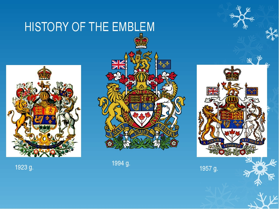 HISTORY OF THE EMBLEM 1923 g. 1957 g. 1994 g.