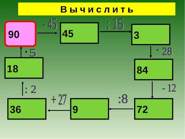 В ы ч и с л и т ь 90 45 3 84 72 9 36 18