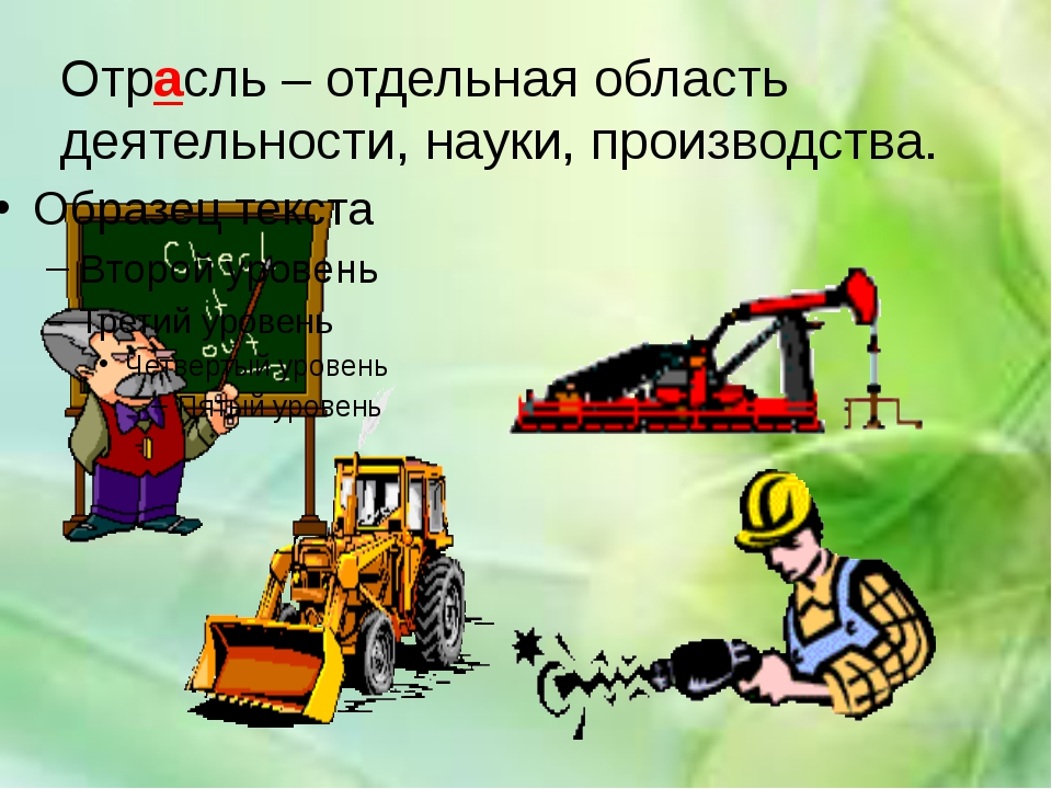 Отрасль – отдельная область деятельности, науки, производства.
