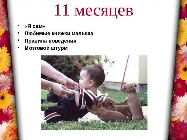 11 месяцев «Я сам» Любимые книжки малыша Правила поведения Мозговой штурм