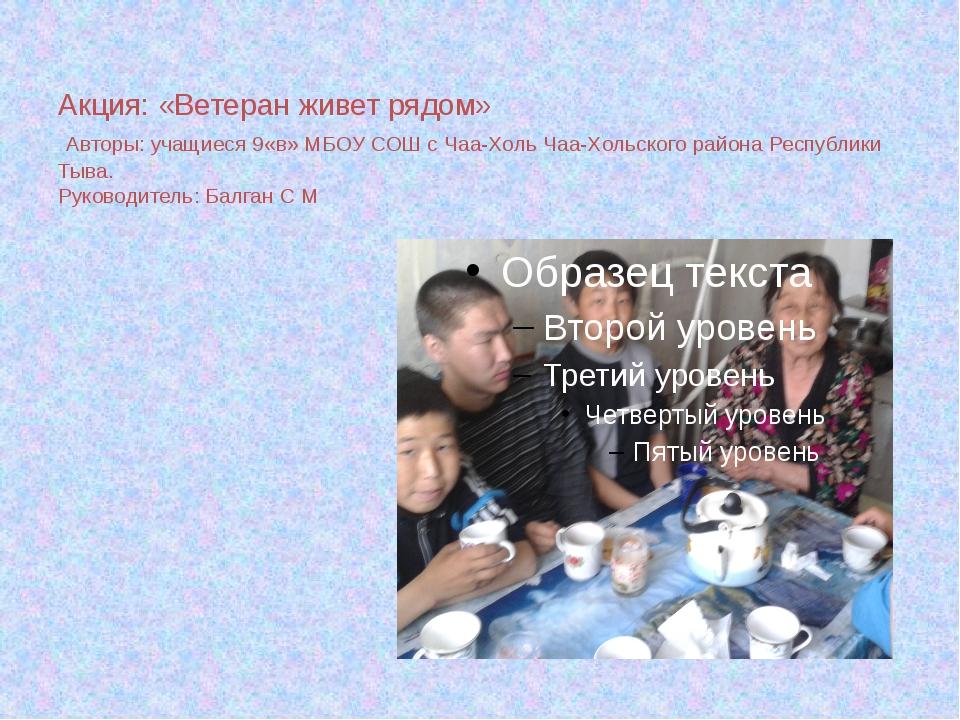 Акция: «Ветеран живет рядом» Авторы: учащиеся 9«в» МБОУ СОШ с Чаа-Холь Чаа-Хо...