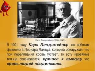 В 1901 году Карл Ландштейнер, по работам физиолога Леонара Ландуа, который об
