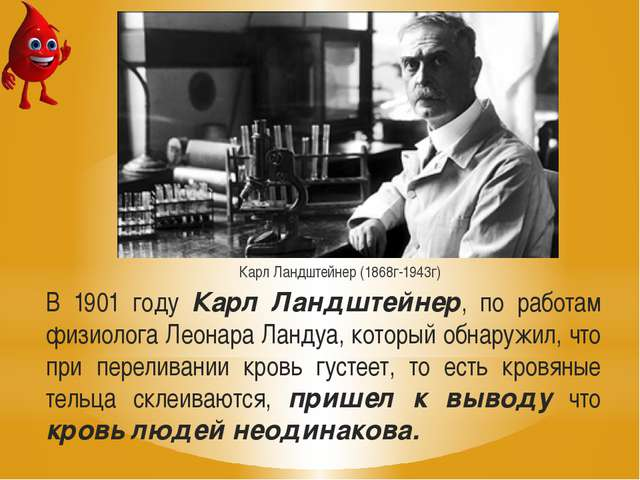В 1901 году Карл Ландштейнер, по работам физиолога Леонара Ландуа, который об...