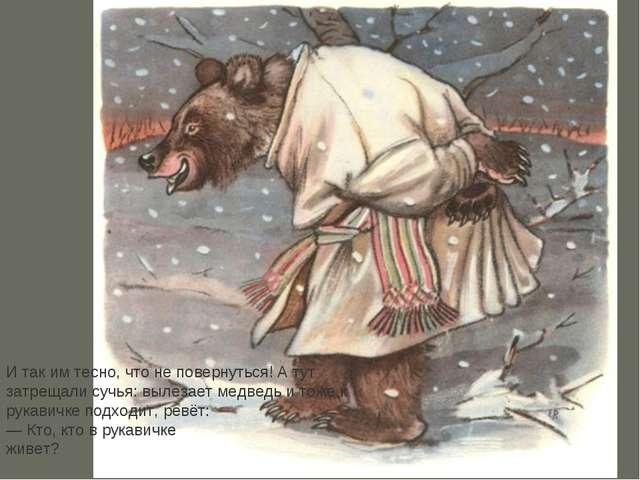 И так им тесно, что не повернуться! А тут затрещали сучья: вылезает медведь и...