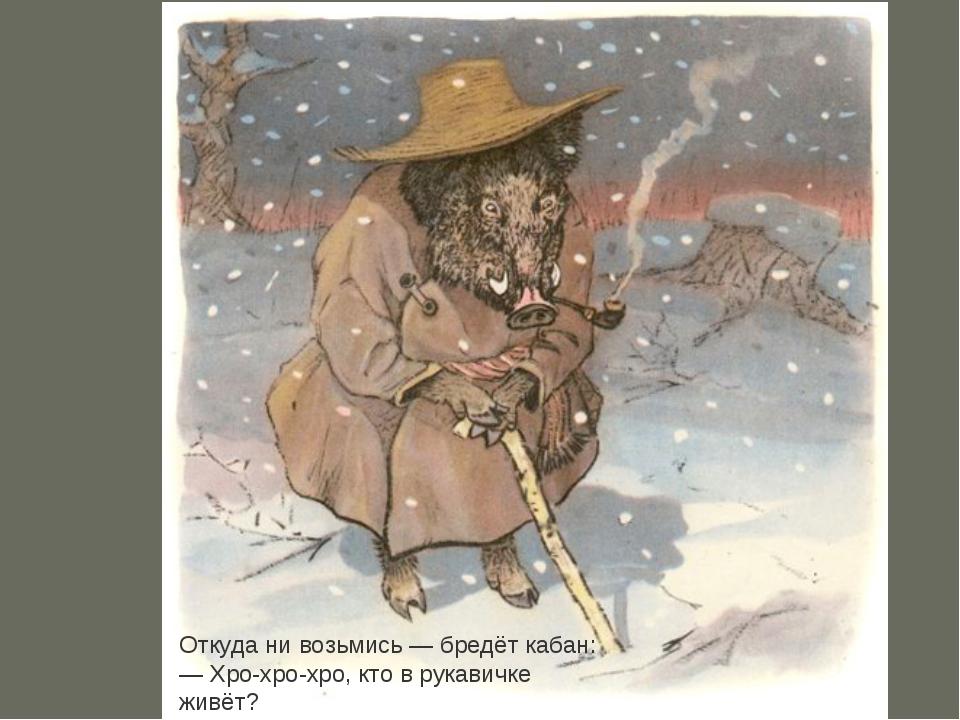Откуда ни возьмись— бредёт кабан: —Хро-хро-хро, кто в рукавичке живёт?...