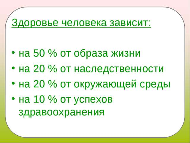 Здоровье человека зависит: на 50 % от образа жизни на 20 % от наследственност...